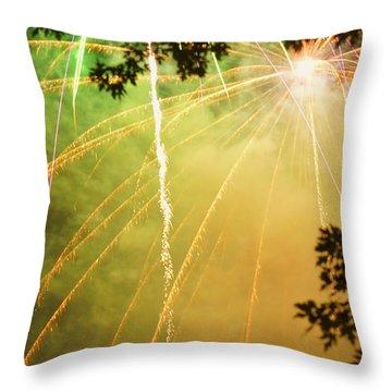 Yellow Fireworks Throw Pillow