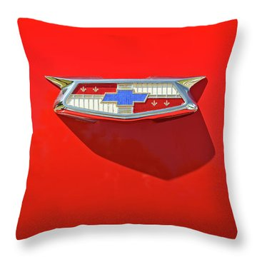 Chevrolet Emblem On A 55 Chevy Trunk Throw Pillow