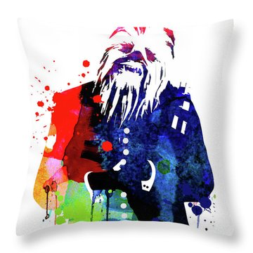 Chewbacca In A Suite Watercolor Throw Pillow