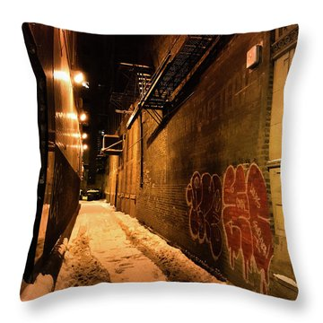 Throw Pillow featuring the photograph Chicago Alleyway At Night by Shane Kelly
