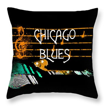 Chicago Blues Music Throw Pillow