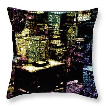 Throw Pillow featuring the mixed media Chicago City Lights by Susan Maxwell Schmidt