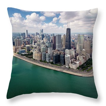 Chicago Gold Coast Aerial Panoramic Throw Pillow