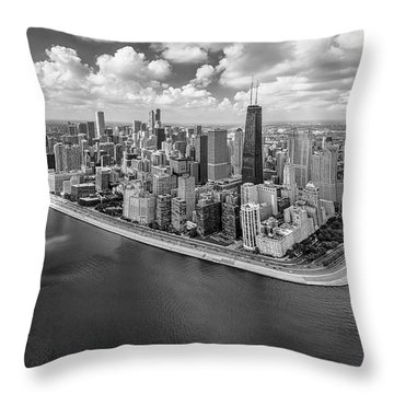 Chicago Gold Coast Aerial Panoramic Bw Throw Pillow