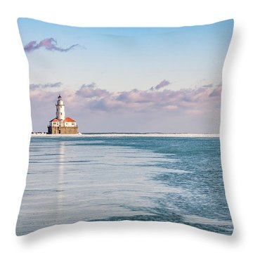 Chicago Harbor Light Landscape Throw Pillow