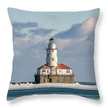 Chicago Harbour Light Throw Pillow