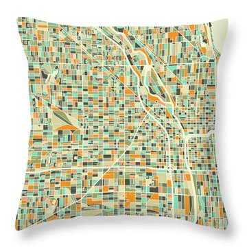 Chicago Map 1 Throw Pillow