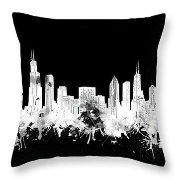 Chicago Skyline Black And White 2 Throw Pillow