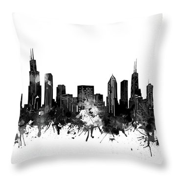 Chicago Skyline Black And White Throw Pillow