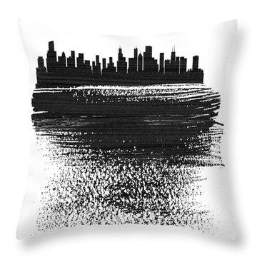 Chicago Skyline Brush Stroke Black Throw Pillow