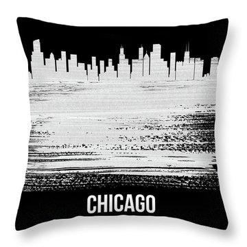 Chicago Skyline Brush Stroke White Throw Pillow