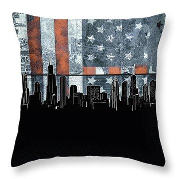 Chicago Skyline Flag 3 Throw Pillow