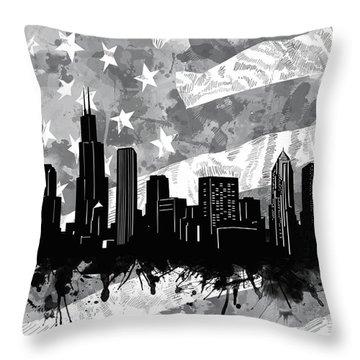 Chicago Skyline Flag Throw Pillow