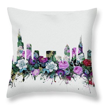Chicago Skyline Floral Throw Pillow