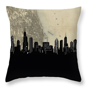 Chicago Skyline Map Throw Pillow