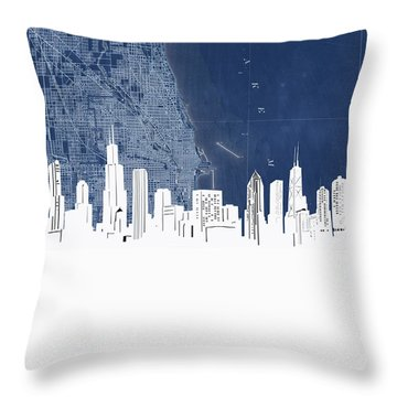 Chicago Skyline Map Blue Throw Pillow