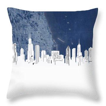 Chicago Skyline Map Blue Throw Pillow