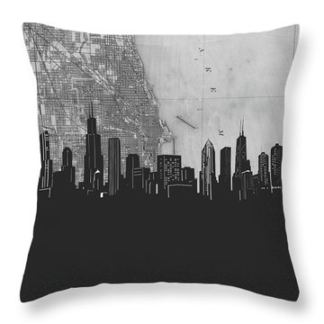 Chicago Skyline Map Grey Throw Pillow