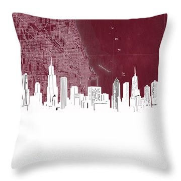 Chicago Skyline Map Red Throw Pillow
