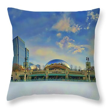 Throw Pillow featuring the photograph Chicago Skyline Millennium Park Ice Rink by Tom Jelen