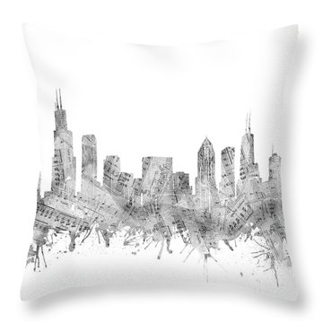 Chicago Skyline Music Notes Throw Pillow
