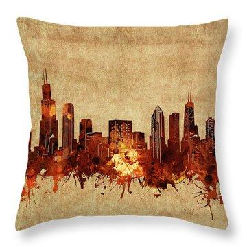 Chicago Skyline Vintage Throw Pillow