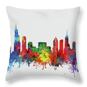 Chicago Skyline Watercolor 2 Throw Pillow