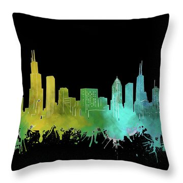 Chicago Skyline Watercolor 3 Throw Pillow