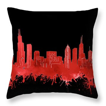 Chicago Skyline Watercolor 5 Throw Pillow