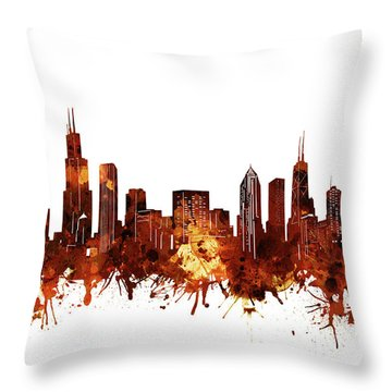 Chicago Skyline Watercolor 6 Throw Pillow