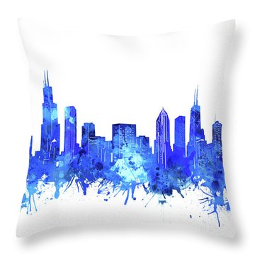 Chicago Skyline Watercolor Blue Throw Pillow