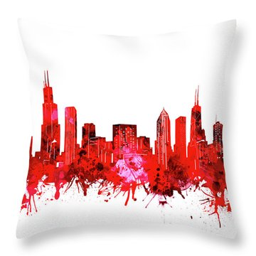 Chicago Skyline Watercolor Red Throw Pillow
