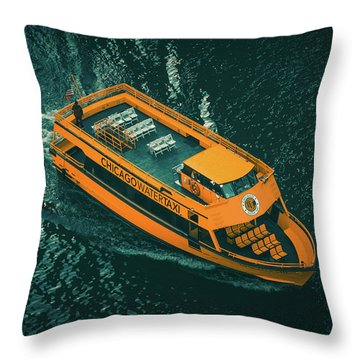Chicago Taxi Throw Pillow