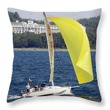 Throw Pillow featuring the photograph Chicago To Mackinac Yacht Race Sailboat With Grand Hotel by Rick Veldman