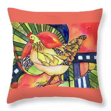 Chicken Red Throw Pillow