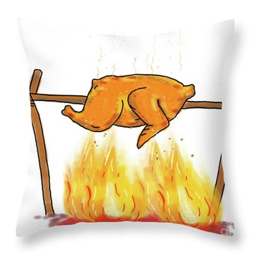 Chicken Roasting Barbecue Drawing  Throw Pillow
