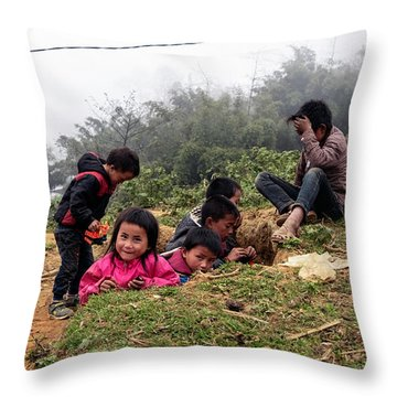 Children At Play - Sapa, Vietnam Throw Pillow
