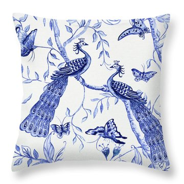 Chinoiserie Blue And White Peacocks And Butterflies Throw Pillow