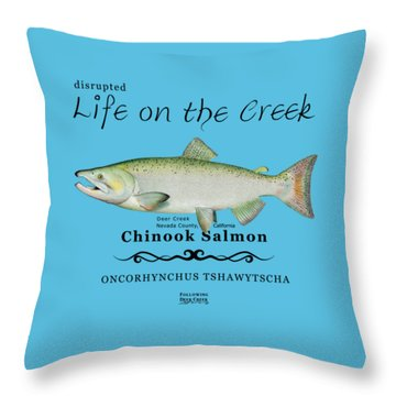Chinook Salmon Disrupted Throw Pillow