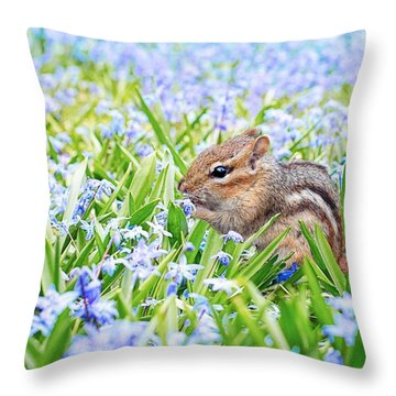 Chipmunk On Flowers Throw Pillow