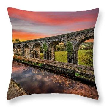 Chirk Aqueduct Sunset Throw Pillow
