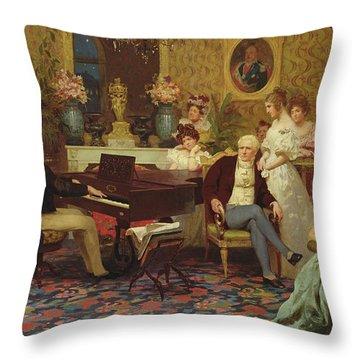 Chopin Playing The Piano In Prince Radziwills Salon Throw Pillow