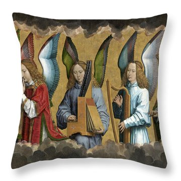 Christ With Singing And Music-making Angels - Panel 2 Throw Pillow