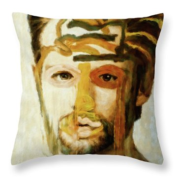 Throw Pillow featuring the mixed media Christian by Susan Maxwell Schmidt