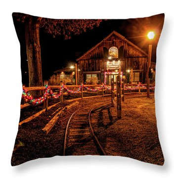 Throw Pillow featuring the photograph Christmas At The Barn In Smithville by Kristia Adams