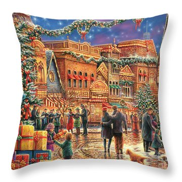 Christmas At Town Square Throw Pillow