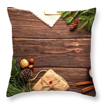 Throw Pillow featuring the photograph Christmas Background by Top Wallpapers