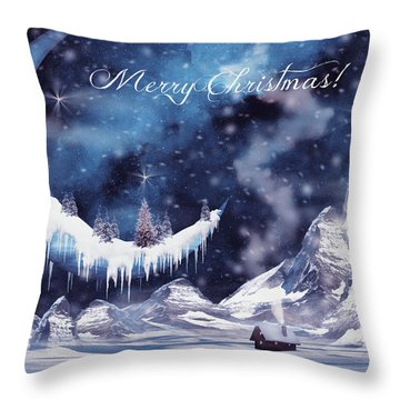 Christmas Card With Frozen Moon Throw Pillow