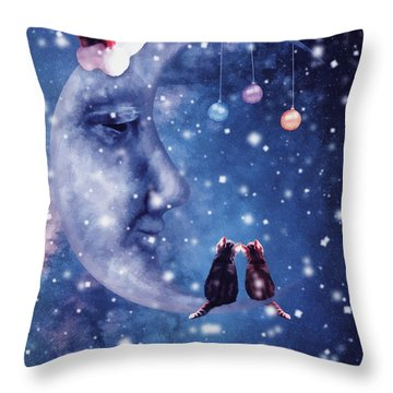 Christmas Card With Smiling Moon And Cats Throw Pillow