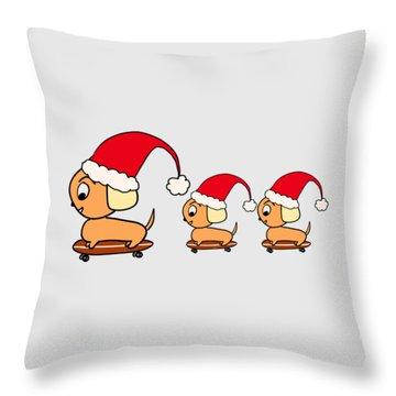Christmas Dogs On Skateboards Throw Pillow